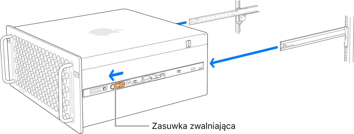 Mac Pro wysuwany zszyn zamocowanych do szafy serwerowej.