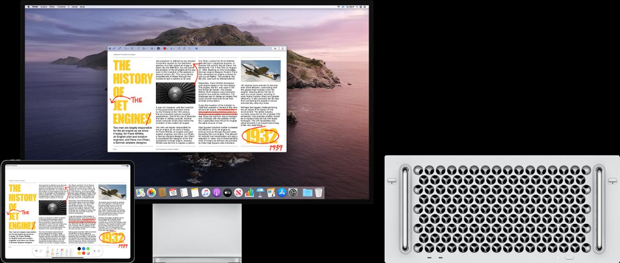 Um Mac Pro e um iPad lado a lado. Ambas as telas mostram um artigo coberto de edições vermelhas rabiscadas, como sentenças riscadas, setas e palavras adicionadas. O iPad também tem controles de marcação na parte inferior da tela.
