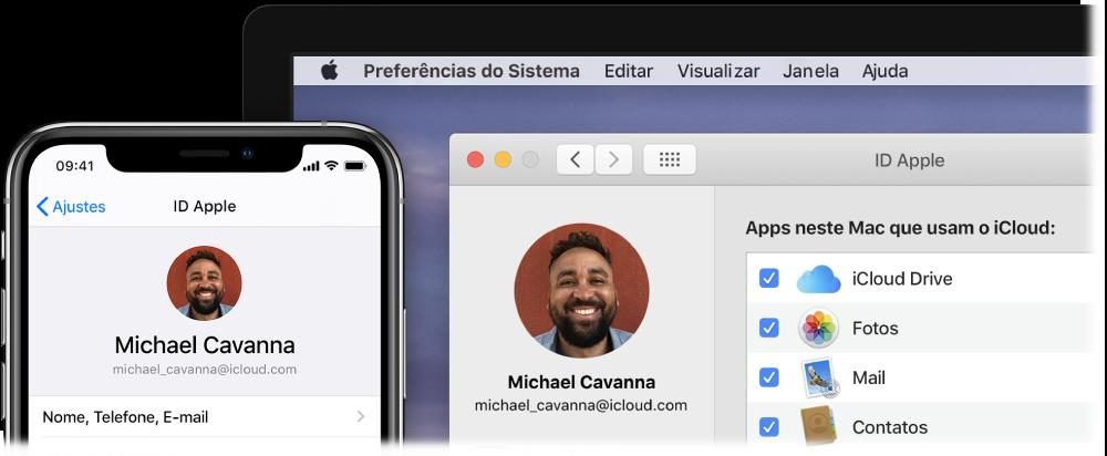 Um iPhone mostrando os ajustes do iCloud e a tela de um Mac mostrando a janela do iCloud.