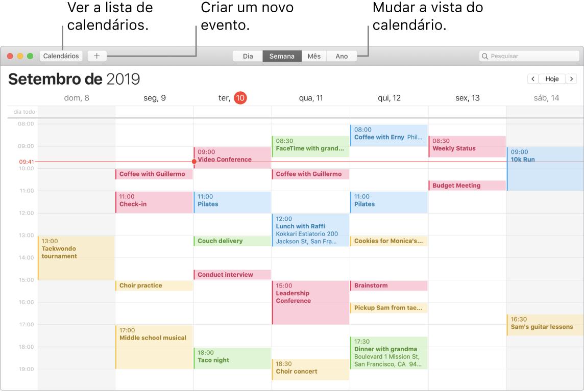 Uma janela do Calendário a mostrar como criar um evento, ver a lista de calendários, e escolher a vista diária, semanal, mensal ou anual.