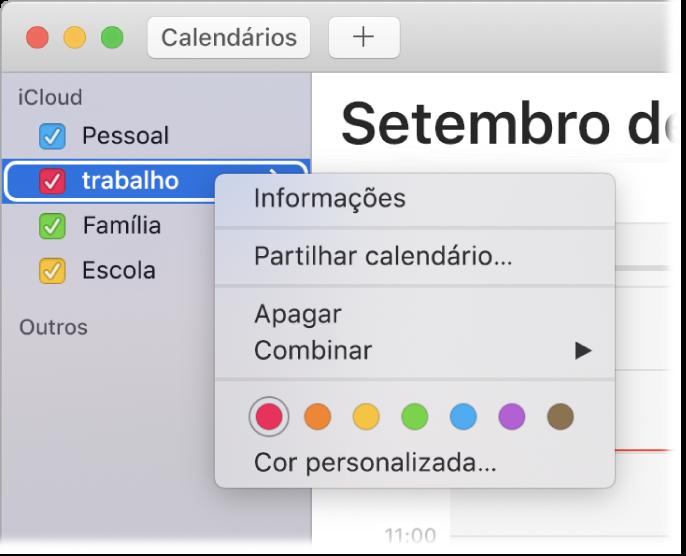 Menu de atalhos do Calendário com opções para personalizar a cor de um calendário.