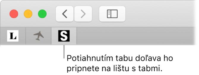 Okno prehliadača Safari zobrazujúce spôsob pripnutia tabu na lište stabmi.