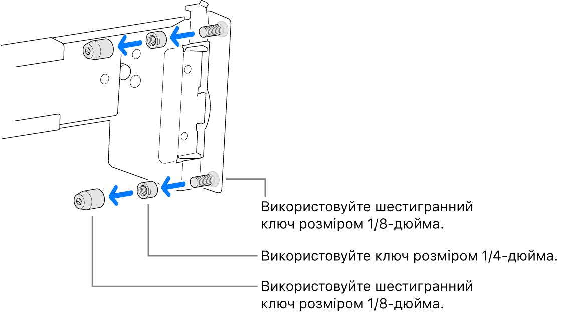 Рейкова збірка для монтажу в стелаж із різьбовим кріпленням.
