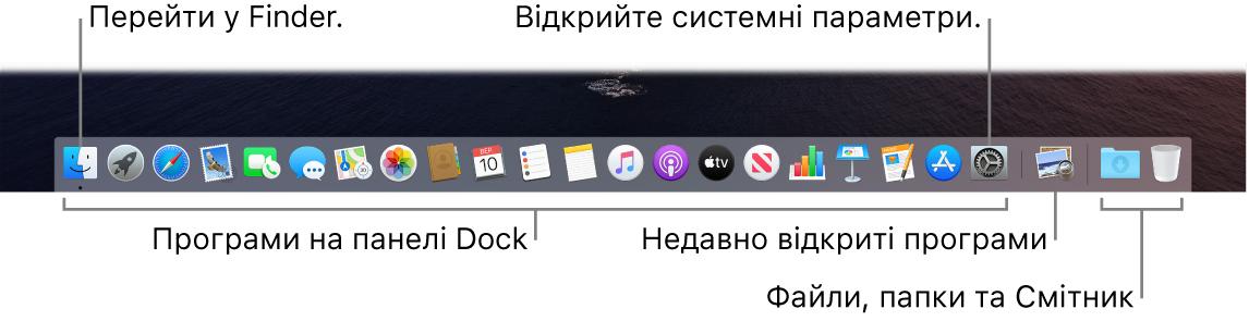 Панель Dock, Finder і Системні параметри та риска, що відокремлює програми від папок і файлів на панелі Dock.