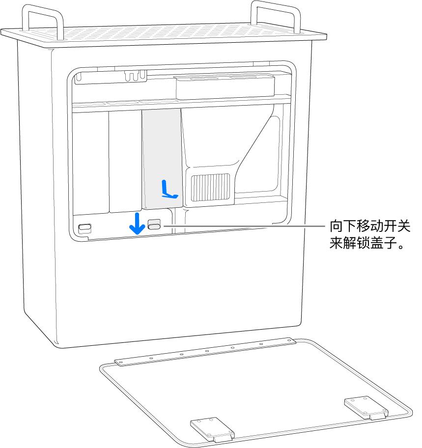 垂直放置的 Mac Pro,标注了用于解锁 DIMM 盖板的开关。