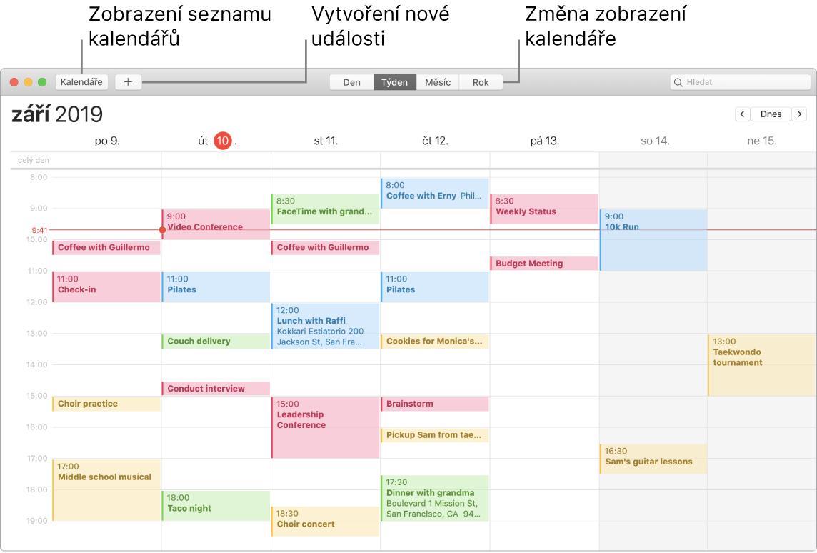 Okno aplikace Kalendář spopisky ukazujícími, kde můžete přidat událost, zobrazit seznam kalendářů nebo vybrat zobrazení Den, Týden, Měsíc či Rok