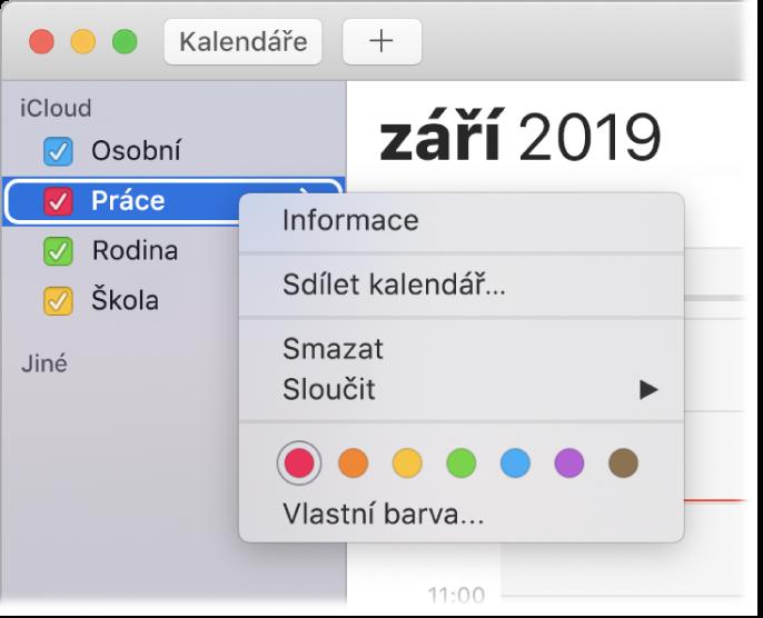 Nabídka zkratek Kalendáře svolbami pro přizpůsobení barvy kalendáře