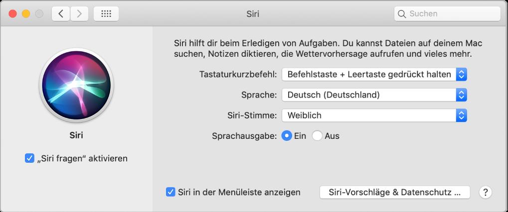 """Das Fenster der Systemeinstellung """"Siri"""" mit ausgewählter Option """"'Siri fragen' aktivieren"""" links und verschiedenen Optionen zum Anpassen von Siri rechts."""