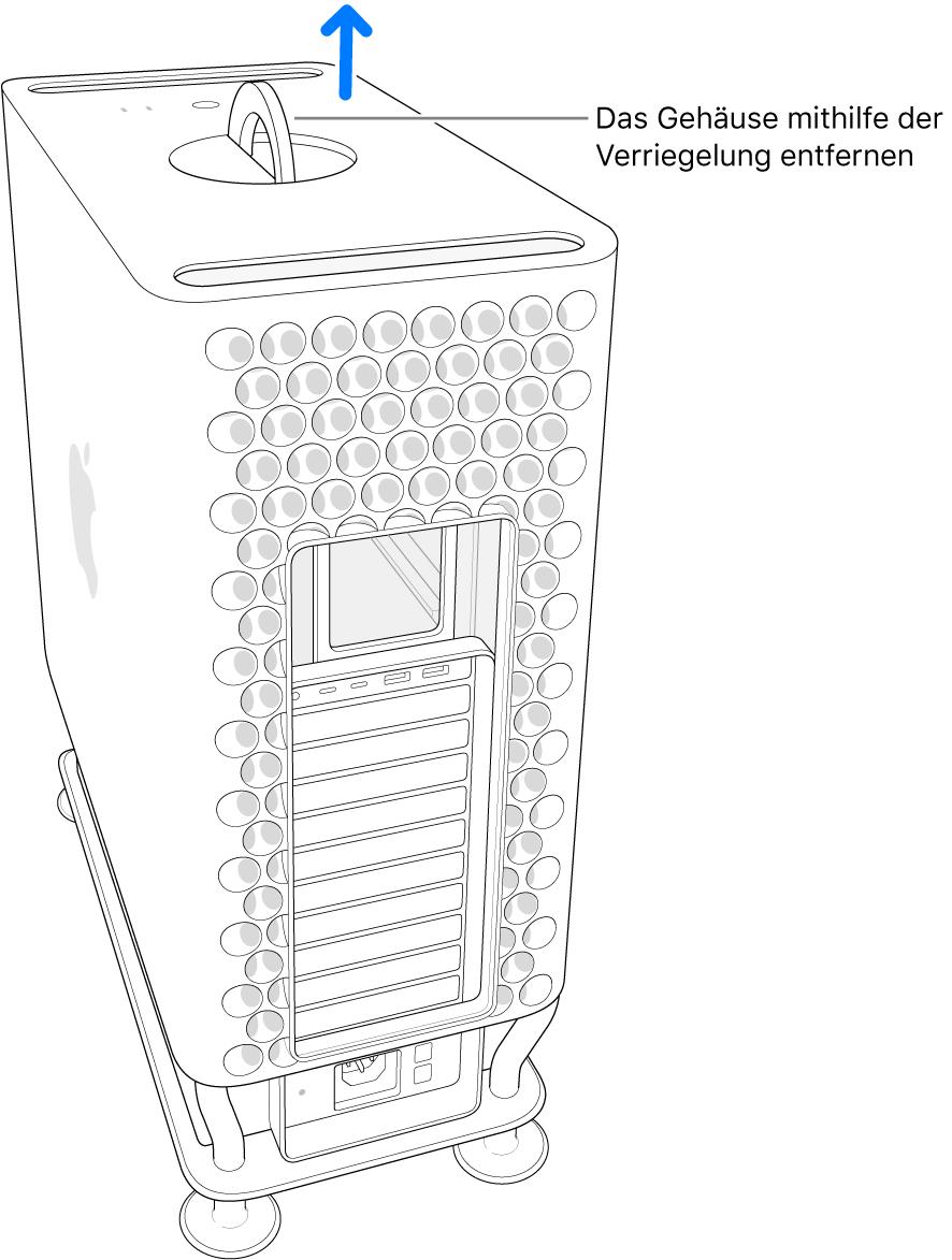 Die Verriegelung ist gedreht und steht senkrecht; das Gehäuse wird vom Computer abgenommen.
