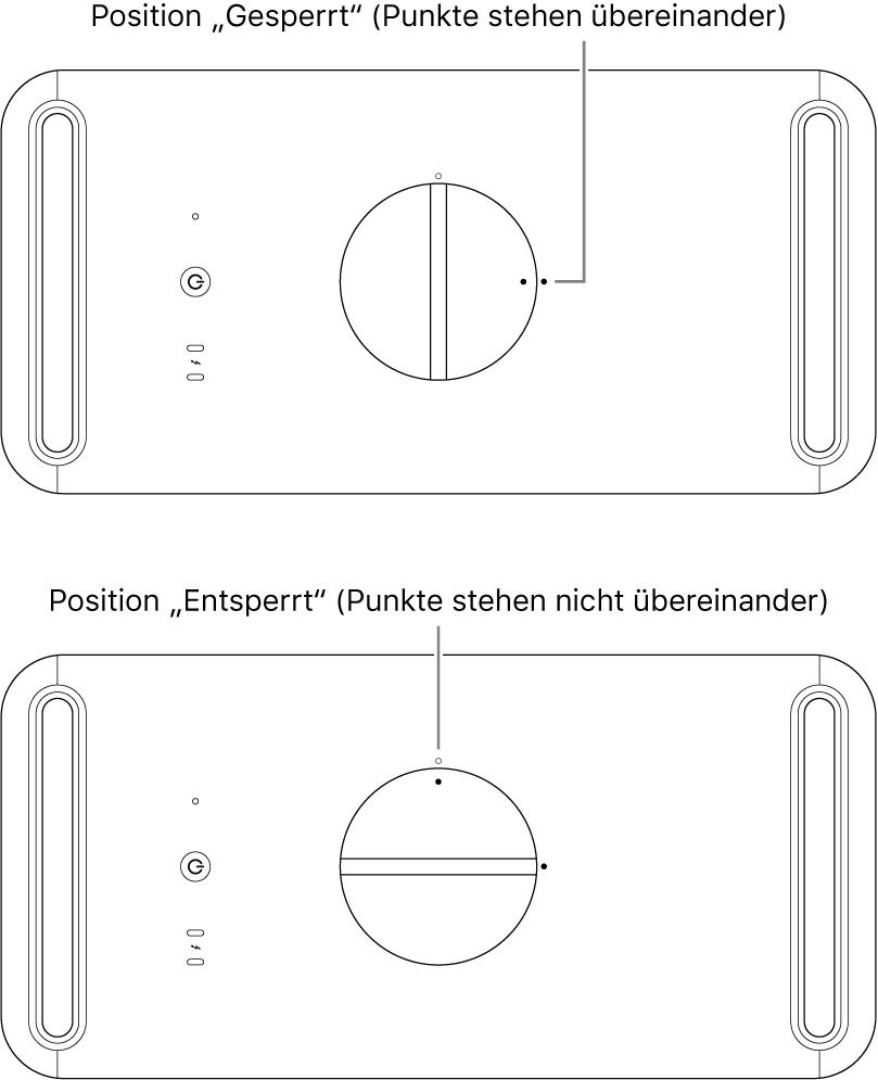 """Die Oberseite des Computergehäuses zeigt die Verriegelung in der Position """"Gesperrt"""" und """"Nicht gesperrt""""."""