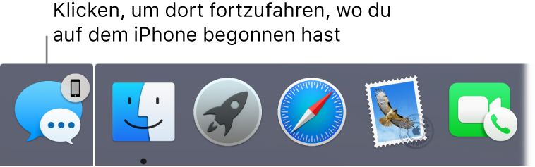 Das Handoff-Symbol links im Dock.