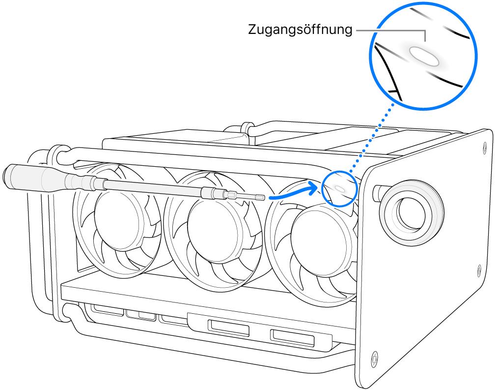 Der Schraubendreher wird mit der Öffnung ausgerichtet.
