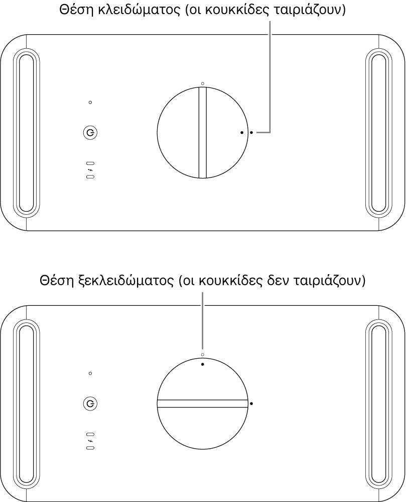 Πάνω μέρος του περιβλήματος του υπολογιστή στο οποίο εμφανίζεται ο σύρτης στην κλειδωμένη και στην ξεκλείδωτη θέση.