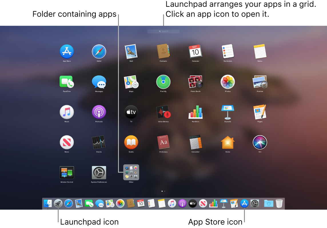 A Mac screen with Launchpad open, showing a folder of apps in Launchpad, and the Launchpad icon and App Store icons in the Dock.