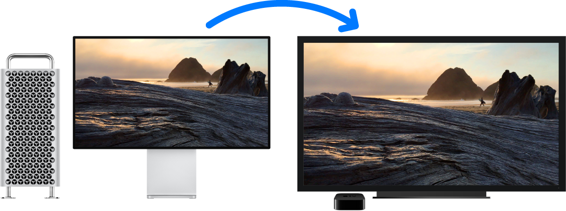 A Mac Pro with its content mirrored on a large HDTV using an Apple TV.