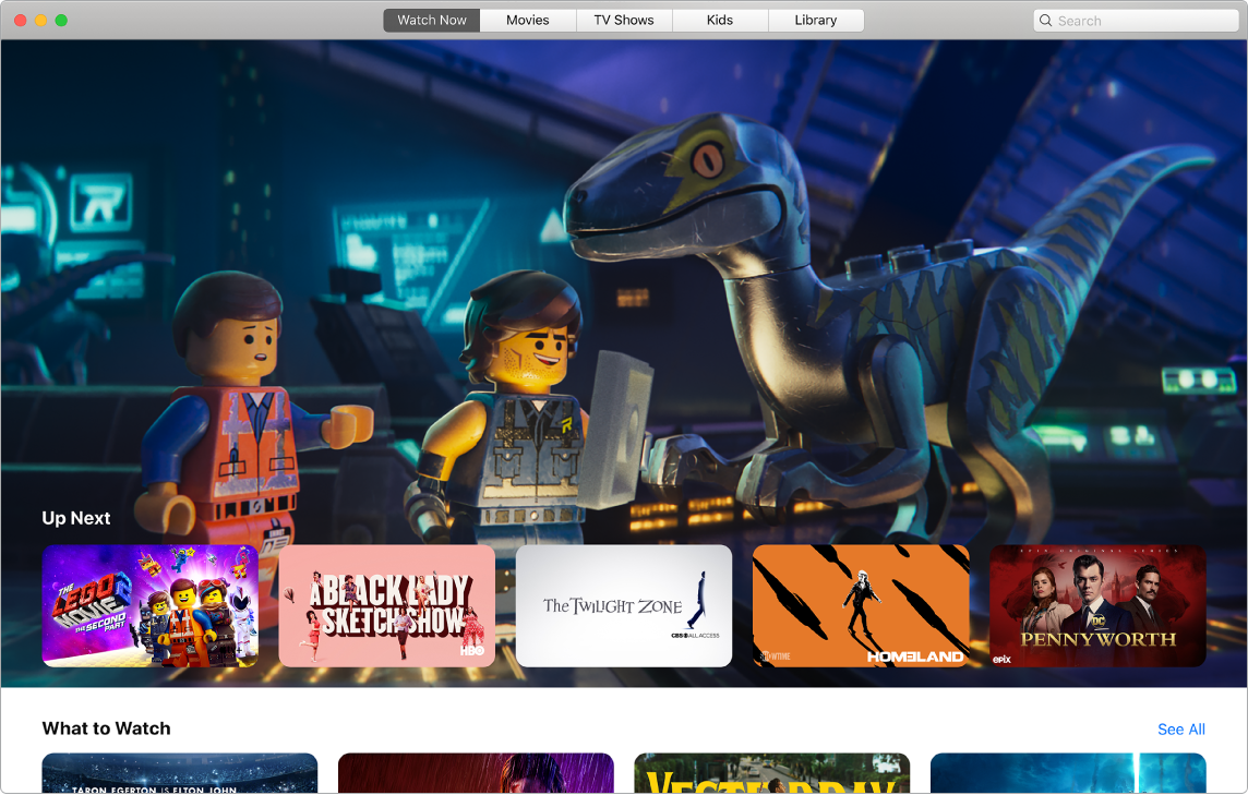 An AppleTV app window showing the Watch Now view.