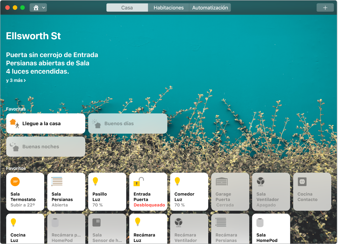 La app Casa mostrando las ambientaciones y los accesorios favoritos.
