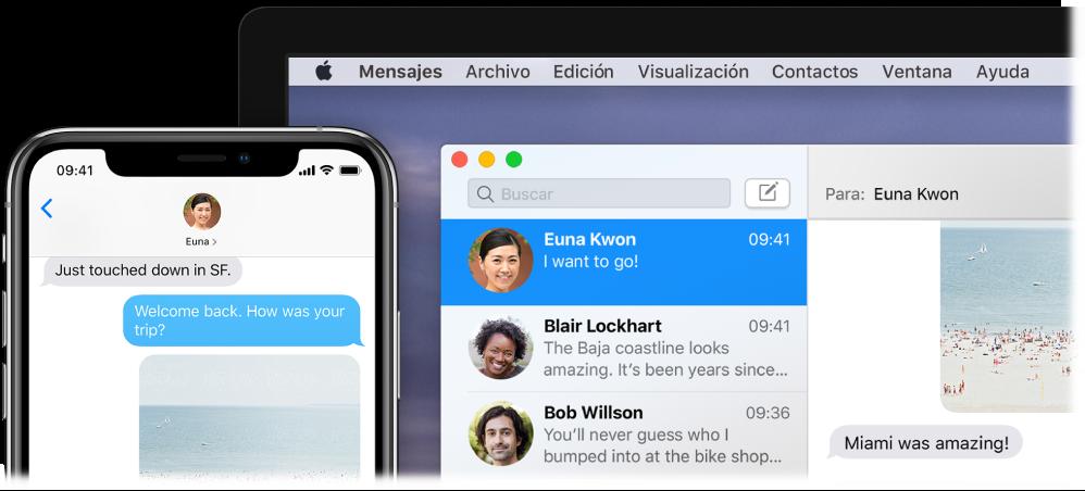 La app Mensajes abierta en una Mac mostrando la misma conversación en Mensajes en un iPhone.