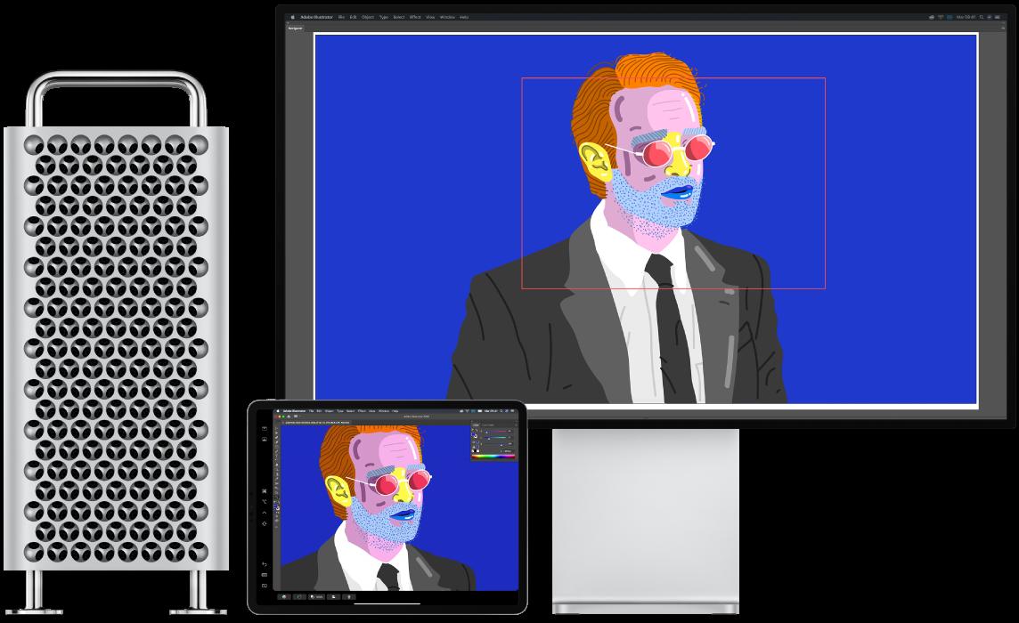 Una Mac Pro y un iPad lado a lado. La Mac Pro muestra arte en la ventana del navegador de Illustrator. El iPad muestra el mismo arte en la ventada de documento de Illustrator rodeado de barras de herramientas.