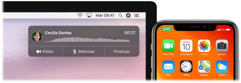 Pantalla de una Mac mostrando una ventana de notificación de llamada en la esquina superior derecha y un iPhone mostrando que hay una llamada en progreso en la Mac.