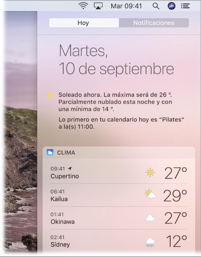 Una pantalla mostrando una parte del escritorio con el centro de notificaciones abierto y la pestaña Hoy seleccionada.