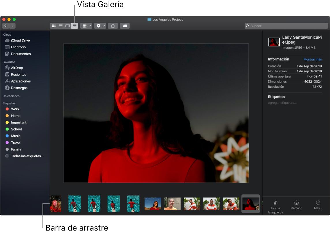 Una ventana abierta de Finder en Visualización como Galería mostrando una foto grande con una fila de fotos pequeñas (la barra de arrastre) debajo de esta. Los controles para girar, marcar y más están en la parte derecha de la barra de arrastre.