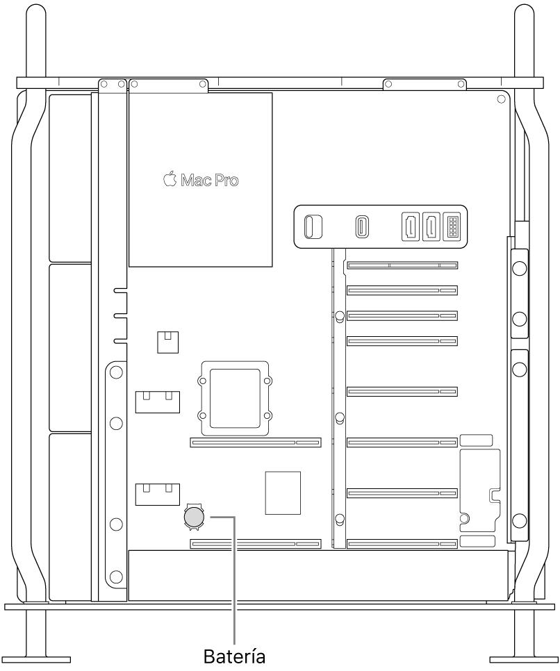 Vista lateral de una Mac Pro ilustrando dónde se encuentra la batería tipo botón.