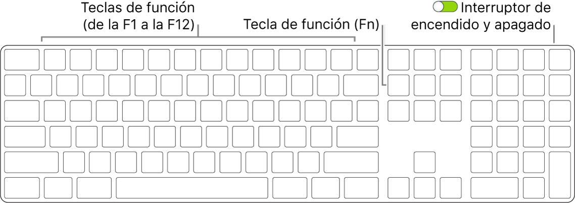 Teclado MagicKeyboard con la tecla de función (Fn) en la parte inferior izquierda y el interruptor de encendido/apagado en la esquina superior derecha del teclado.