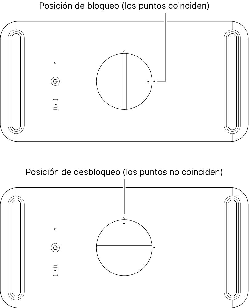Parte superior de la carcasa del ordenador donde se muestra el cierre en posición de bloqueo y de desbloqueo.