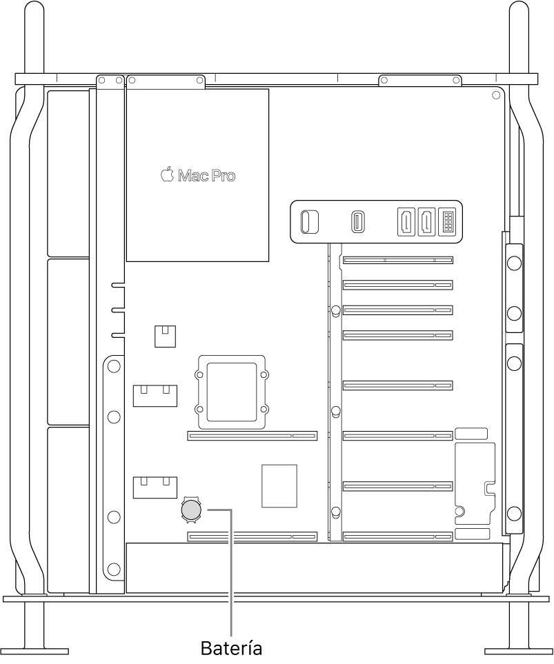 Vista lateral abierta del MacPro que señala la ubicación de la batería de botón.