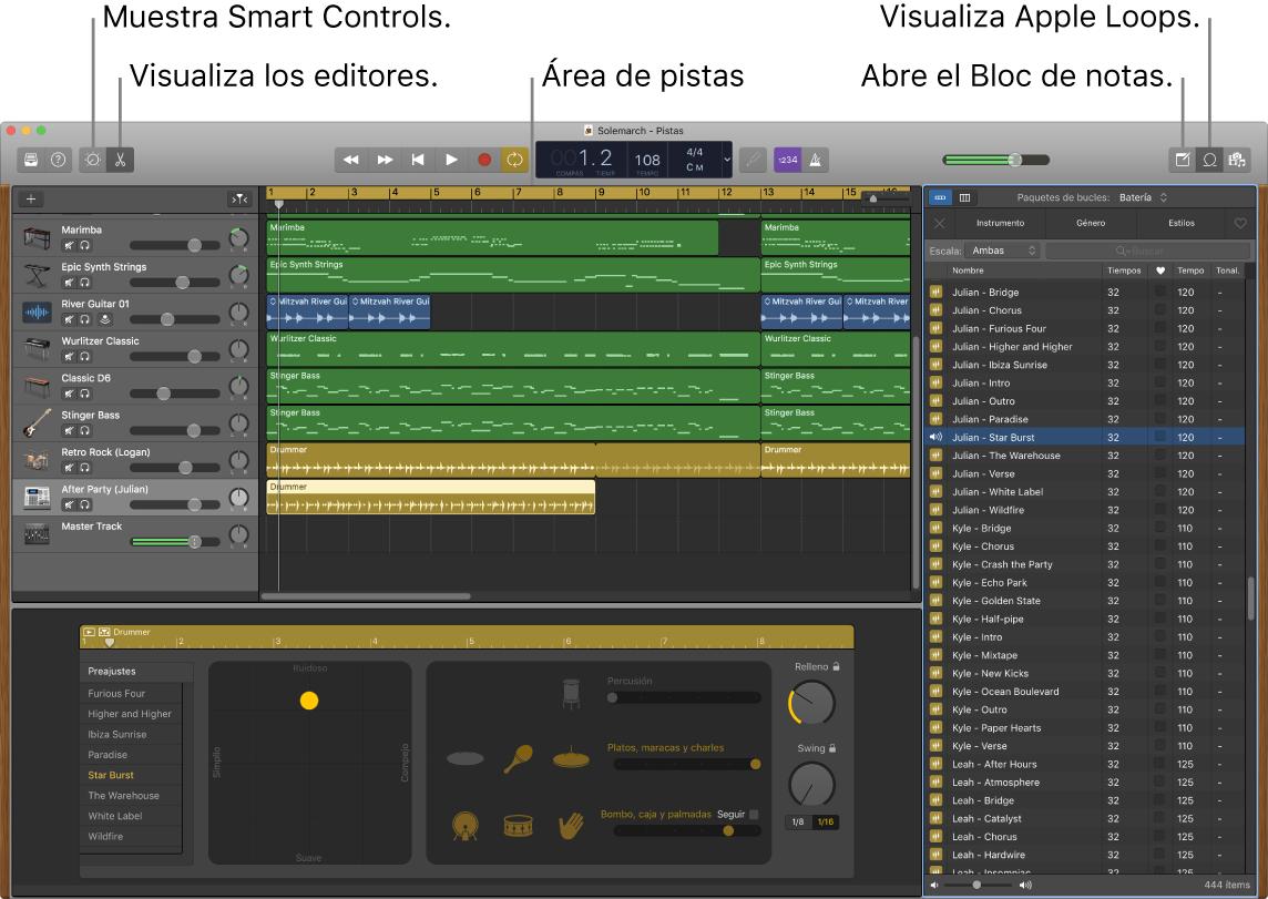 Una ventana de GarageBand con los botones para acceder a los Smart Controls, los editores, las notas y los bucles Apple Loops. También se muestra la visualización de pistas.