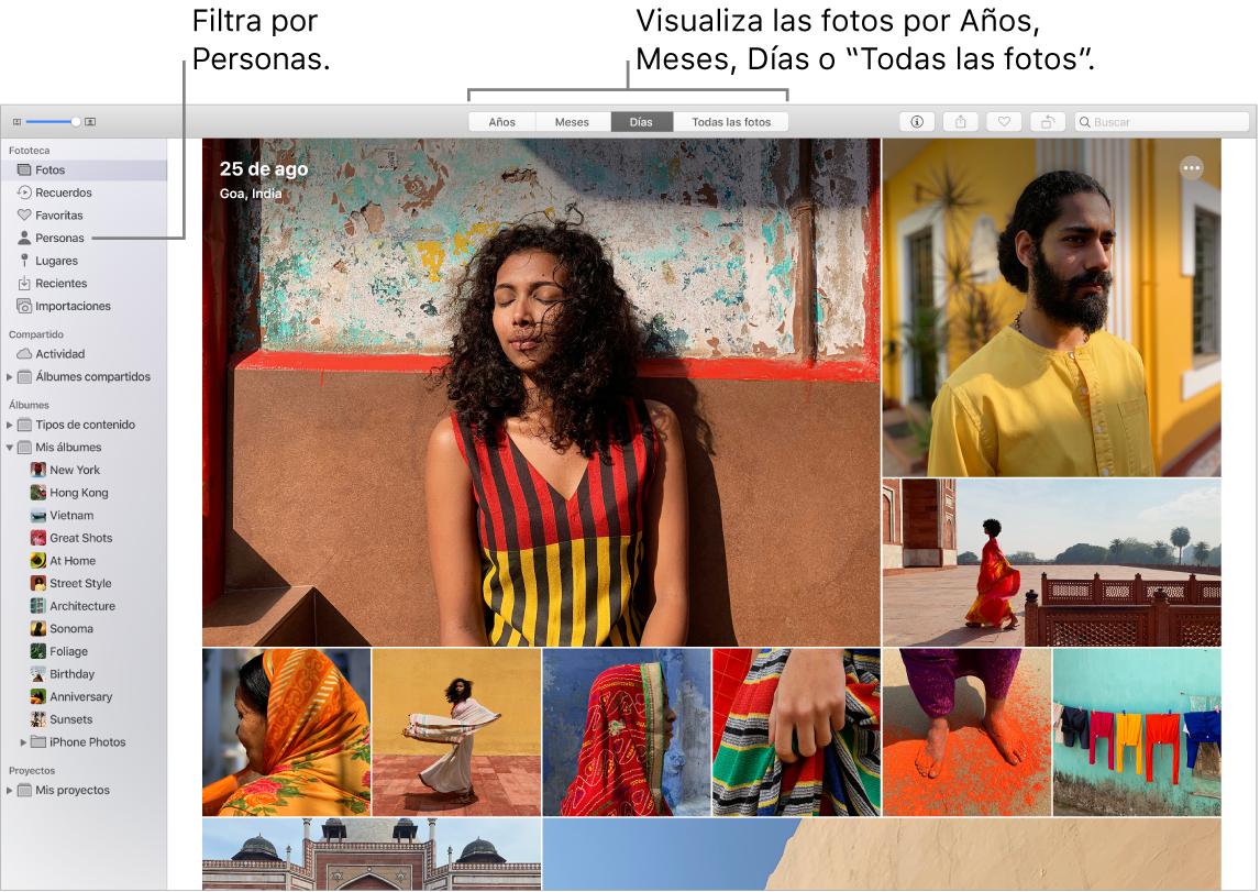 Una ventana de Fotos que muestra cómo filtrar las fotos del álbum de diversas maneras.