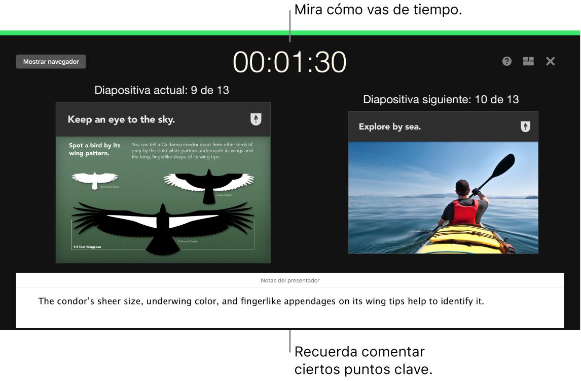 "Ventana de Keynote con la característica ""Ensayar pase de diapositivas""."