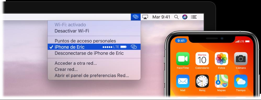 """Pantalla de un Mac con el menú de la conexión Wi-Fi en el que se muestra la función """"Compartir Internet"""" conectada a un iPhone."""