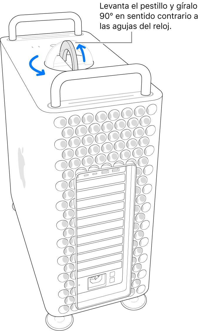 Se muestra el primer paso para quitar la carcasa del ordenador levantando el cierre y girándolo 90 grados.
