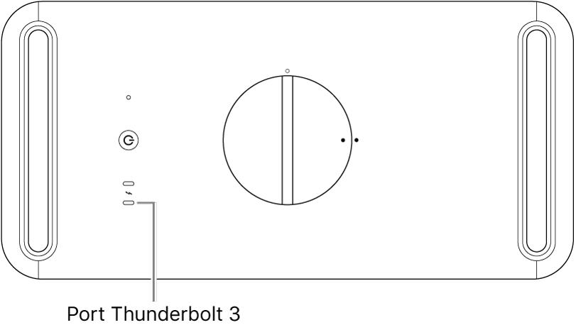 Le haut du MacPro, montrant le port Thunderbolt3 à utiliser.