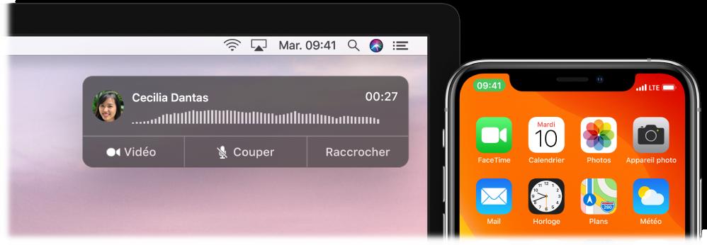 Écran d'un Mac affichant la fenêtre de notification d'appel en haut à droite, et un iPhone indiquant qu'un appel est en cours sur le Mac.