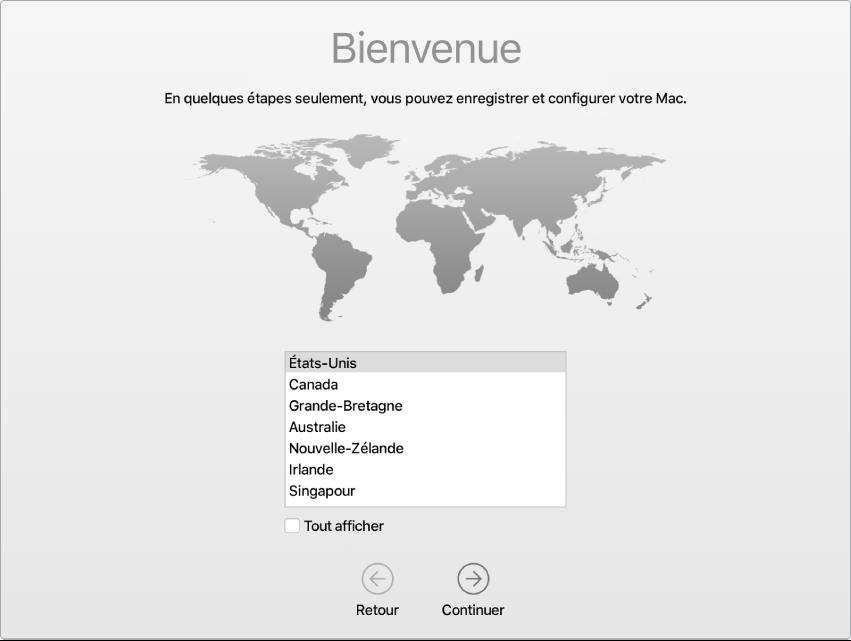 L'écran d'un Mac avec l'Assistant réglages ouvert sur l'écran de Bienvenue.