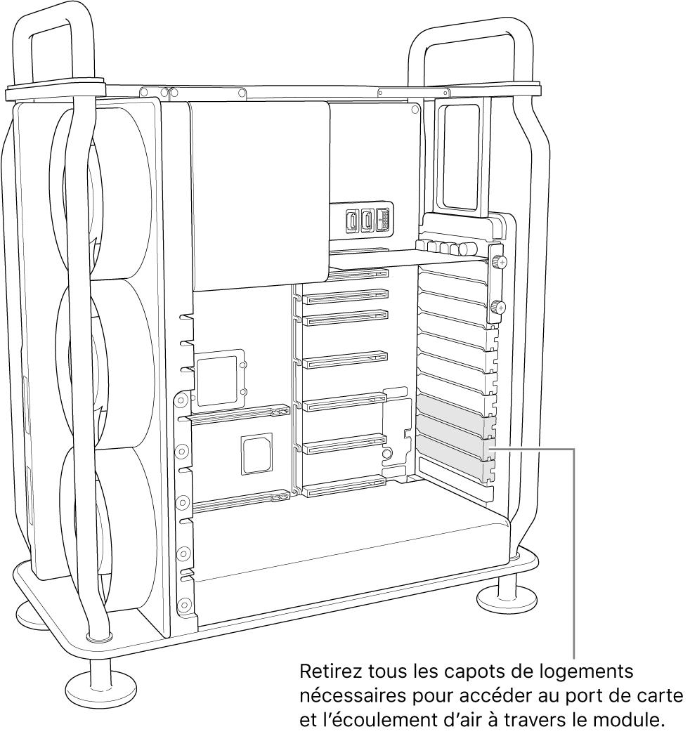 Retrait de tout cache de logement nécessaire pour l'accès au port de la carte et l'écoulement de l'air sur le module.