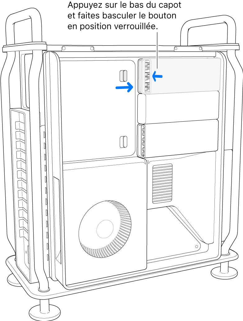 Pression sur le cache pour verrouiller le bouton en place.
