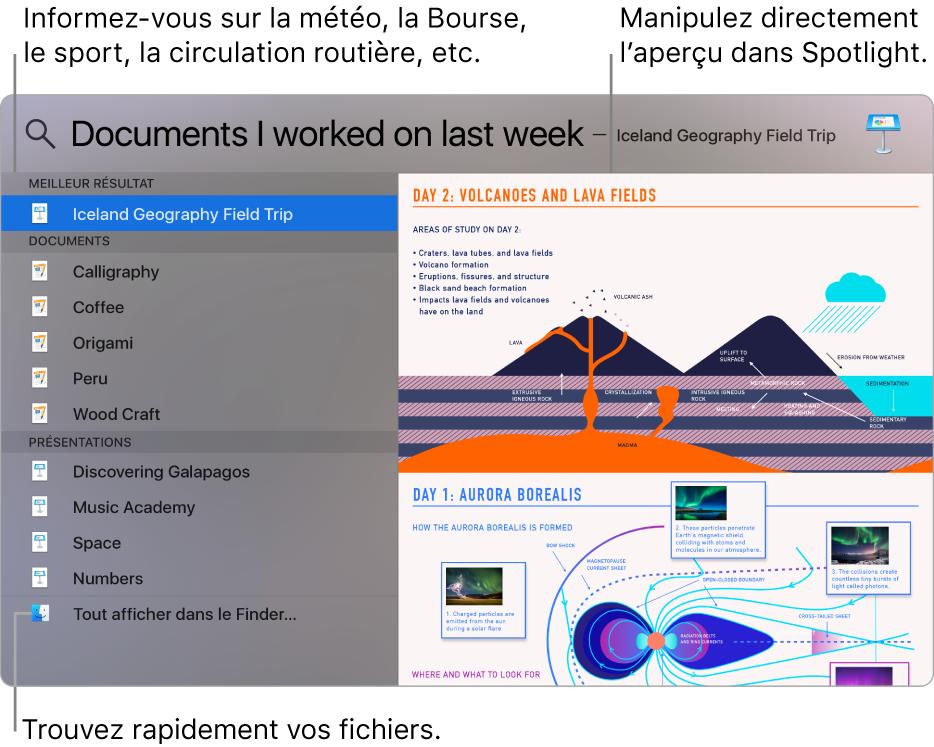 Fenêtre de Spotlight affichant des résultats de recherche à gauche et un aperçu à droite.
