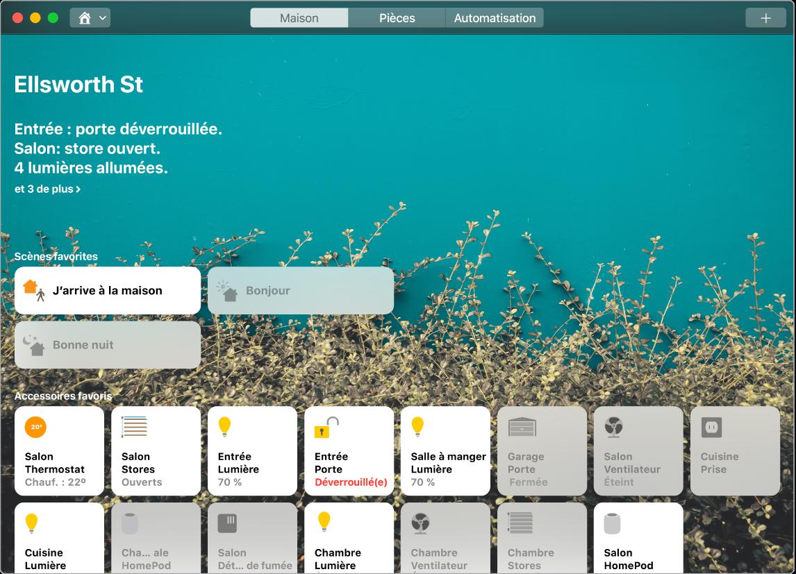 L'app Maison affichant les scènes favorites et les accessoires favoris.