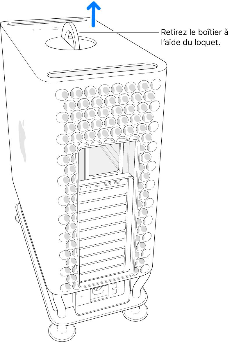 Le loquet est tourné et en position relevée; le boîtier est enlevé de l'ordinateur.