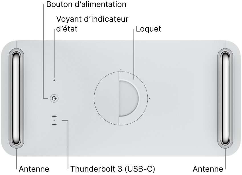 Le dessus du MacPro montrant le bouton d'alimentation, le voyant système, le loquet, l'antenne et deux ports Thunderbolt3 (USB-C).