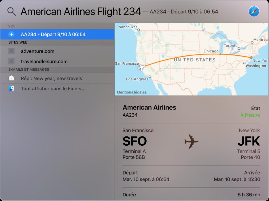 La fenêtre Spotlight affichant un plan et des informations de vol pour le vol que vous avez recherché.