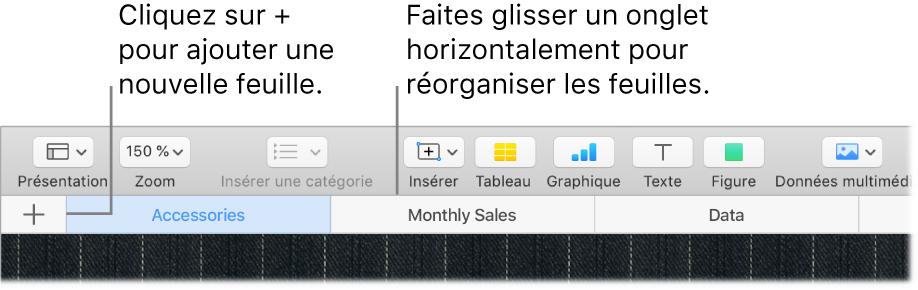 Fenêtre de Numbers indiquant comment ajouter une nouvelle feuille et réorganiser des feuilles.