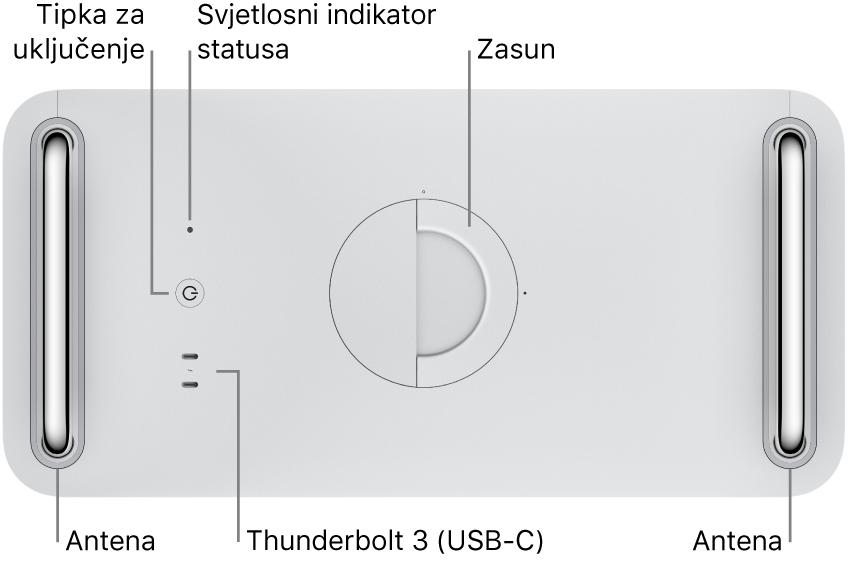 Gornji dio Mac Pro računala s prikazom tipke za uključivanje, svjetlosnog indikatora sustava, kukice, antene i dvaju priključaka Thunderbolt 3 (USB-C).