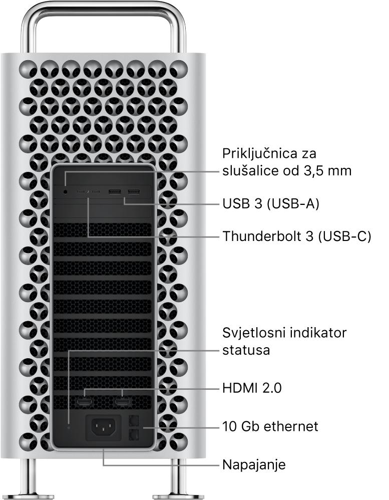 Bočni pregled Mac Pro računala s prikazom priključnice od 3,5 mm za slušalice, dvije priključnice USB-A, dvije priključnice Thunderbolt3 (USB-C), svjetlosnog indikatora stanja, dvije priključnice za HDMI 2.0, dvije priključnice za 10 Gigabit Ethernet i priključnice za napajanje.