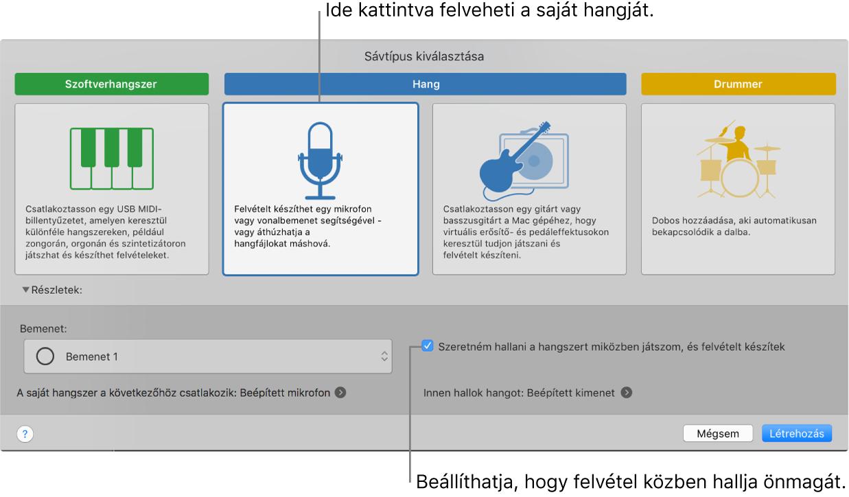 A GarageBand hangszerpanele, amelyen megtekintheti, hová kell kattintania a hang rögzítéséhez, és hogyan hallgathatja magát felvételkor.