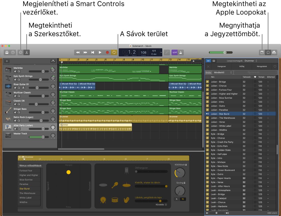 Egy GarageBand-ablak, amelyben az Intelligens vezérlők, a Szerkesztők, a Jegyzetek és az Apple Loopok elérésére szolgáló gombok láthatóak. A sávok nézete is látható.